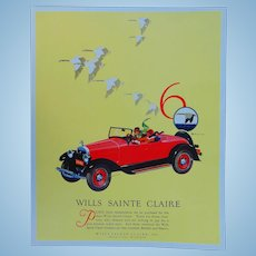 1920's Wills St Claire Roadster  Advertising Poster