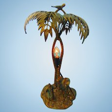 Art Deco Bronze Camel & Arab Rider Table Lamp with Crossed Palm Trees