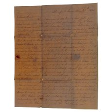 1845 Stampless Cover 3 Page Letter  What's WRONG with Texas ! by D.H.White Stamford,Ct.