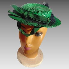 1930's Ladies Irish Green Hat