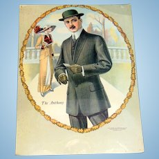 1914 Clothing  Department Store Sign for The Anthony Dapper Suit for Gents