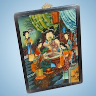 c.1920's Oil Painting of Seven Japanese Geisha girls playing Go Board