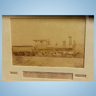 1870's Albumen Photo of Moses Taylor Locomotive Scranton,Pa. D. L. & W Railway