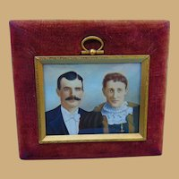 Grant Wood Portrait of Quintessential Farming Couple in 24kt.Gold Frame