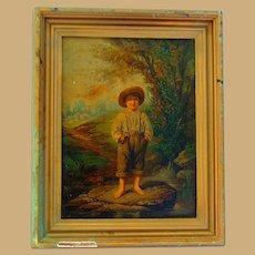1864 Oak Framed Louis Prang Chromolithograph Whitter's Barefooted Boy