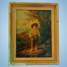 1864 Oak Framed Louis Prang Chromolithograph Whitter's Barefooted Boy