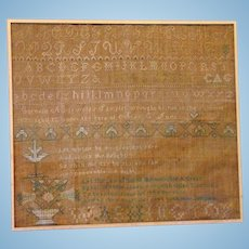 American Sampler Cornelia Griswold  in the Summer of 1823