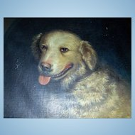 Unusual Charles  Cole oil painting of Shaggy Dog signed Portland,Maine 1854