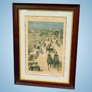 A Day in St. Augustine,Florida April 25th 1885 Hand-Colored Harper's Weekly Supplement in Frame