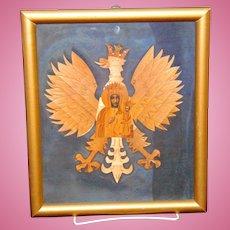 Incredible Folk Art Polish Icon pre-WW2  made of Straw