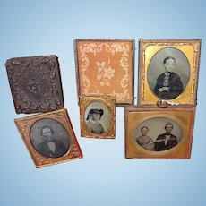 Daguerrian Union Case and Family Archive of Early Photos daguerreotype ambrotypes tintypes