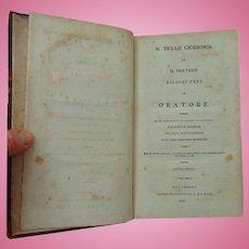 Original  Book M. Tullii Ciceronis Ad Q Fratrem Dialogi Tres de Oratore (1810)Dr. & Mrs. Y. H. Bond Krauss Street. In S. St. Louis