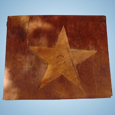 Folk Art Cypress Wood Storage Box with STAR Odessa,Florida c.1920's