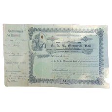 Civil War GAR Memorial Stock Certificate St. Cloud,Florida
