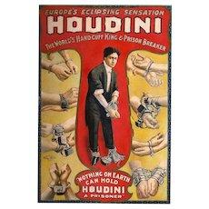 c.1917 Harry Houdini Magic Poster