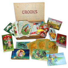Fresh Antique Cigar Box full of Halloween,Christmas,Holiday Postcards & Tradecards