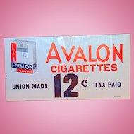 1930's Avalon Cigarettes General Store Sign