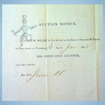 James Miller Prancing Auctioneer Stampless Cover 1842 5000 Soles of Leather ! SUICIDE SALE