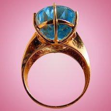 Dazzling Blue Topaz Ladies 10kt. Gold Ring Custom hand-picked Robin's Egg Sky Blue Stone
