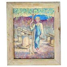 "Southern Folk Art Primitive Painting Appalachian Blonde Farm Boy with mystery  ""Easter Island Figures"""