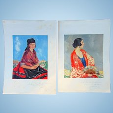 1931 Spanish Paintings of Mrs. Clark Lawrence & Daughter