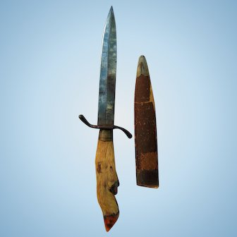 Mountain Man 19th century hand-made Hunting knife with Deer Foot Grip