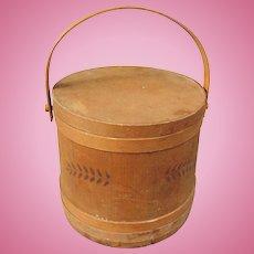 1870's Lidded Sugar Bucket Firkin from Vermont ( None Finer)