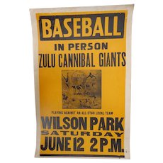Rare 1935 Baseball Negro League Zulu Cannibal Giants Event Poster