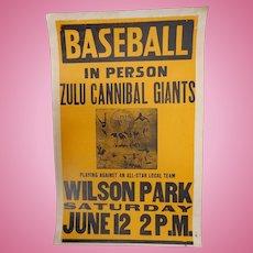 Rare 1935 Baseball Negro League Zulu Cannibal Giants Event Poster