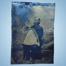 Heart Wrenching Postmortem Tintype of Father & Daughter