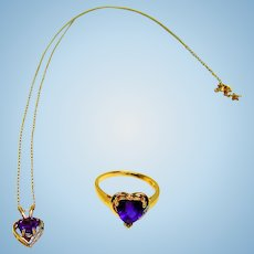 Gold Amethyst Heart Cut Necklace & Ring Set