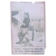 Rare 1911 Anti-Prohibition Poster