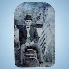 Rebel Without a Cause? Upside Down 45 Star American Flag Tintype