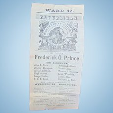 Broadside from the year 1876 that features Frederick O. Prince for Mayor of Boston