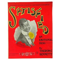 "Ragtime Black Americana  Sheet Music ""Satisfied"" 1913 Hamilton"