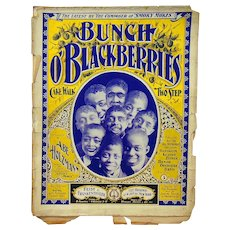 Rare Black Americana Sheet Music Bunch O' Blackberries : Cake Walk Two Step 1899