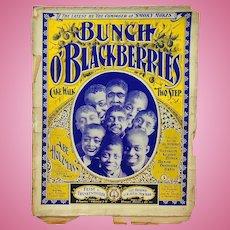 Rare Black Americana Sheet Music Bunch O' Blackberries : Cake Walk Two Step 1899