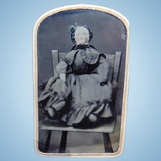 Tintype of Fabulous Large Porcelain China Head Doll by Alt, Beck & Gottschalck