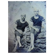 "Tintype photo of Two 1890's of ""Gay Nineties"" Bathing ""Beauties"""