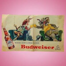 1956 Budweiser Advertising Poster Democrats vs. Republicans