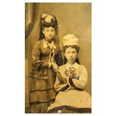 "The embodiment of grace and intelligent beauty."" Tintype Photo of Victorian Young Ladies"