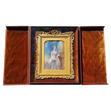Painting of Swedish Nightingale Jenny Lind in Whole Plate daguerreotype Case