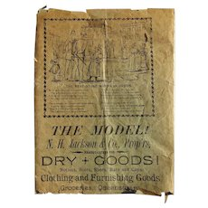 1890's Wrapping Paper from N.H.Jackson Dry Goods Store Bardolph, Illinois