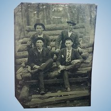 Tintype Photo of Loggers Sawmill Workers