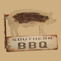 Southern Folk Art Barbecue BBQ Wooden Sign