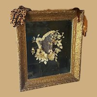 Victorian Mourning Shadow Box featuring Harp with real Gold strings