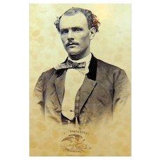 CDV Photo of Intense Ship Captain of the Montebello Lima,Peru Autographed