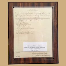 Civil War Fifty 1st U.S.Colored Infantry issued new Springfield Rifles Document
