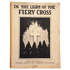 "1924 Lansing, Mi  Klan Sheet Music ""In The Light Of The Fiery Cross"""