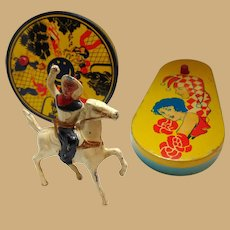Cat's Meow Tin Toy Noise Makers and Hoot Gibson